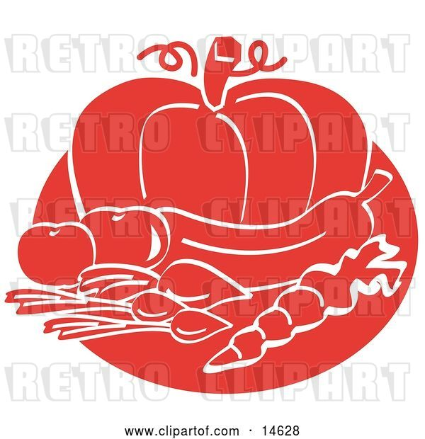 Vector Clip Art of Retro Food Still Life of Beets or Radishes, a Carrot, Eggplant, Tomatoes and a Pumpkin