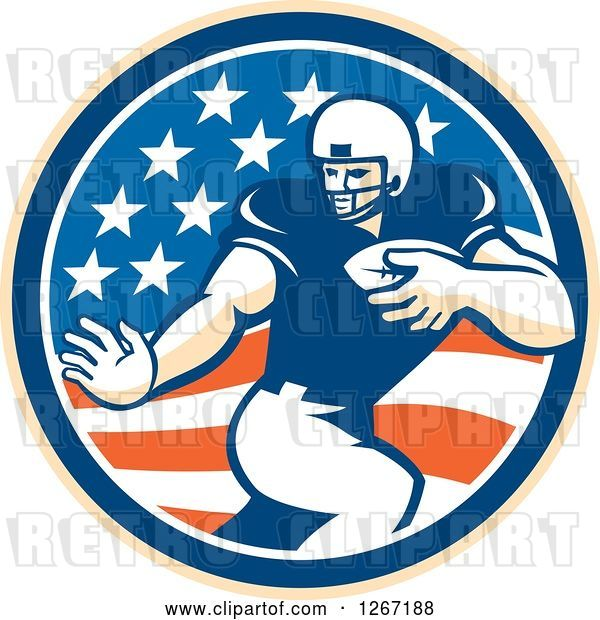 Vector Clip Art of Retro Football Player in an American Flag Circle