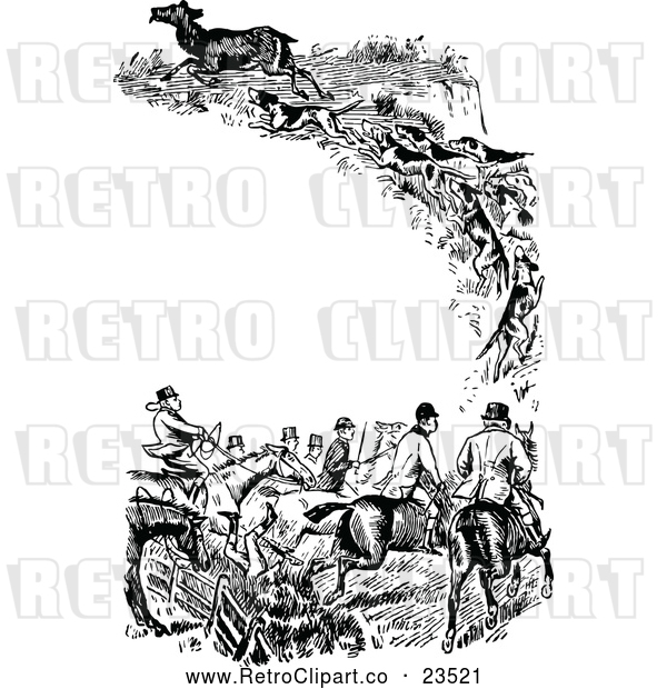 Vector Clip Art of Retro Fox Hunting Border