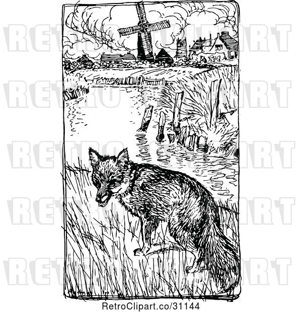 Vector Clip Art of Retro Fox near a Pond and Farm