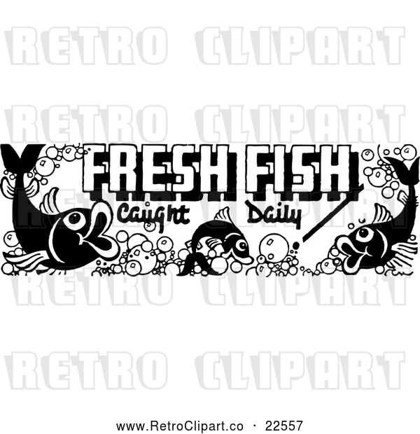 Vector Clip Art of Retro Fresh Fish Caught Daily Sign