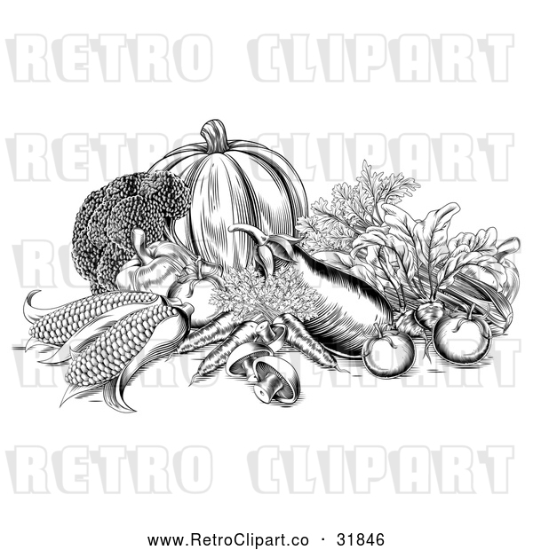 Vector Clip Art of Retro Fresh Harvest Vegetables in Black and White