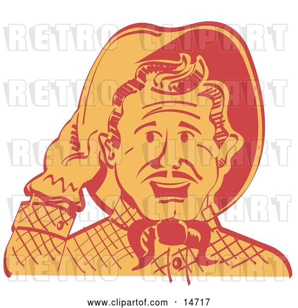 Vector Clip Art of Retro Friendly Cowboy Guy Tipping His Hat While Saying Howdy
