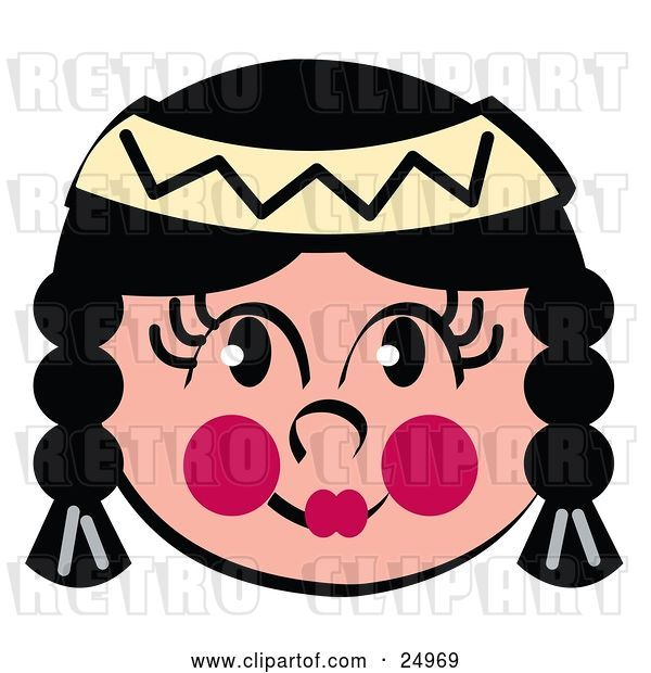 Vector Clip Art of Retro Friendly Native American Indian Girl's Face with Braids, Flushed Cheeks and a Headband