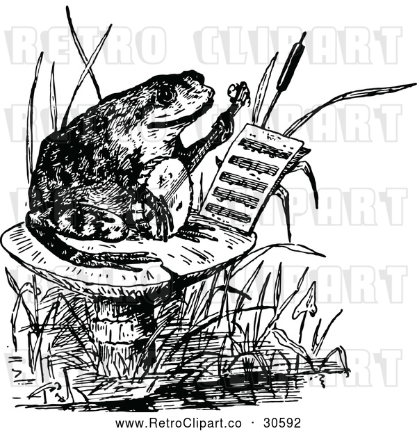 Vector Clip Art of Retro Frog Playing a Banjo on a Mushroom