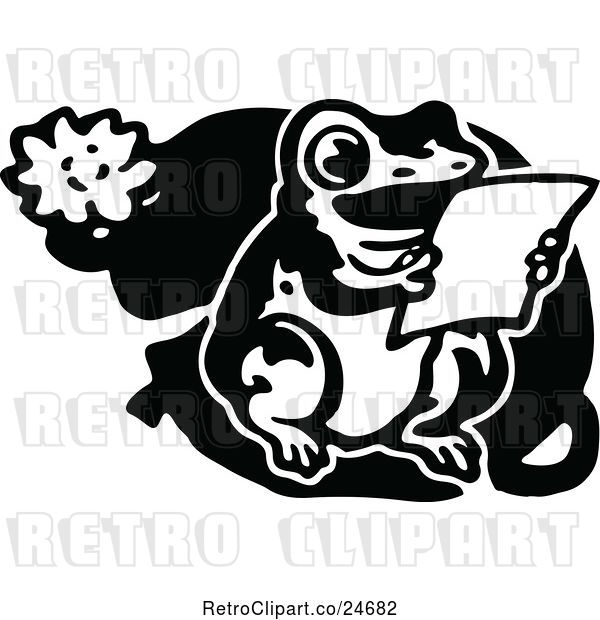 Vector Clip Art of Retro Frog Reading on a Lily Pad