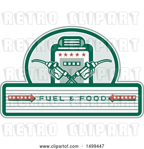 Vector Clip Art of Retro Fuel and Food Design with Crossed Gas Nozzles and Pump