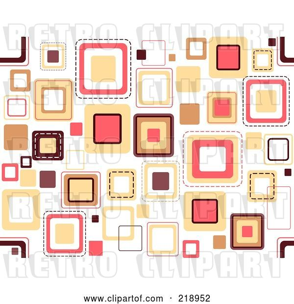 Vector Clip Art of Retro Funky Background of Scattered Squares on White