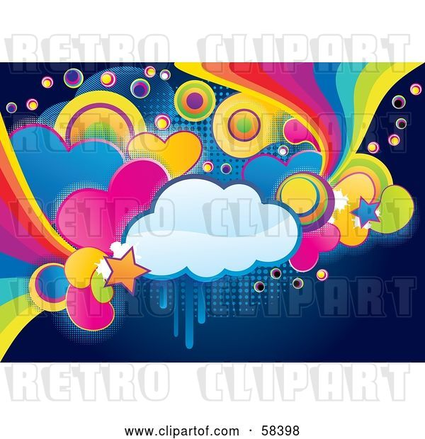 Vector Clip Art of Retro Funky, Colorful Cloud, Circle, Heart and Rainbow Grunge Background