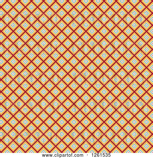 Vector Clip Art of Retro Funky Seamless Pattern Background of Diamonds