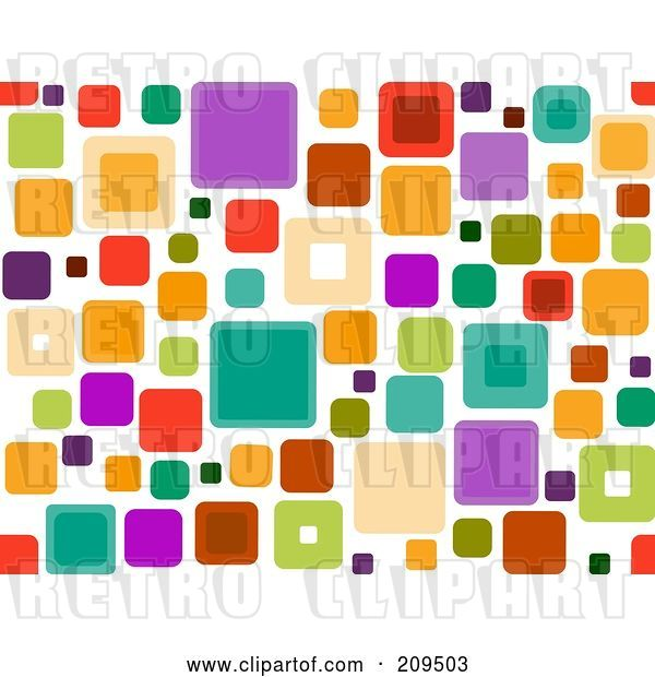 Vector Clip Art of Retro Funky Seamless Square Pattern over White