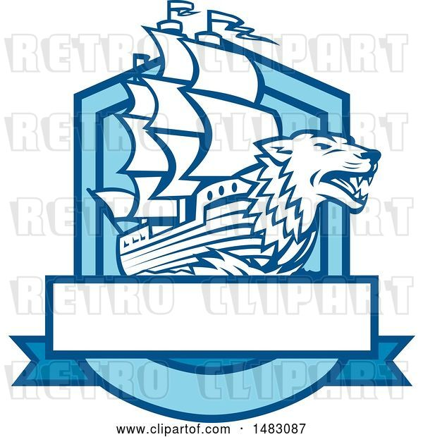 Vector Clip Art of Retro Galleon Ship with a Wolf Head Bow in a Crest