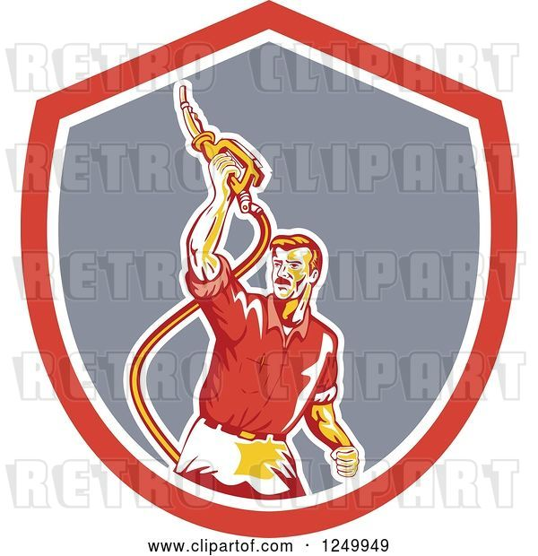 Vector Clip Art of Retro Gas Station Attendant Guy Holding up a Nozzle in a Shield