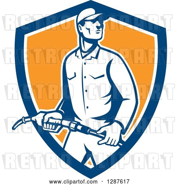 Vector Clip Art of Retro Gas Station Attendant Jockey Holding a Nozzle in a Blue White and Orange Shield