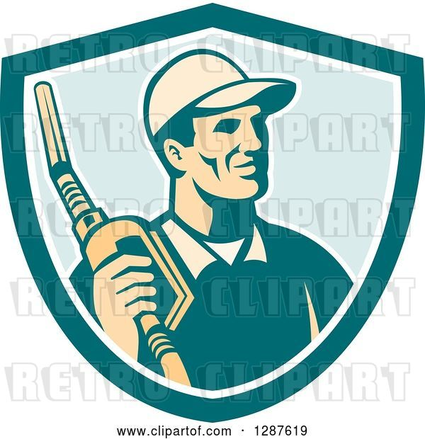 Vector Clip Art of Retro Gas Station Attendant Jockey Holding a Nozzle in a Turquoise White and Blue Shield