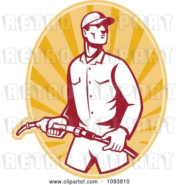 Vector Clip Art of Retro Gas Station Attendant Jockey Holding a Nozzle over Orange Rays