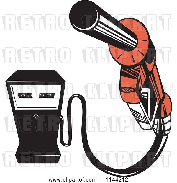 Vector Clip Art of Retro Gas Station Pump and Nozzle