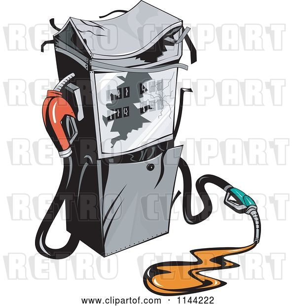 Vector Clip Art of Retro Gas Station Pump and Spill