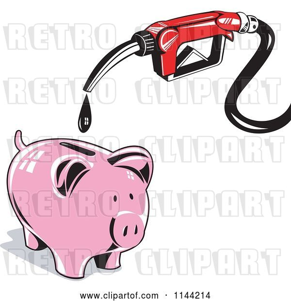 Vector Clip Art of Retro Gas Station Pump Nozzle Dripping into a Piggy Bank