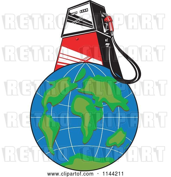 Vector Clip Art of Retro Gas Station Pump on Earth