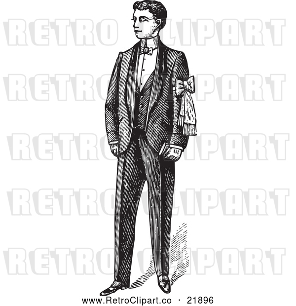 : Vector Clip Art of Retro Gentleman Standing in a Suit - 2