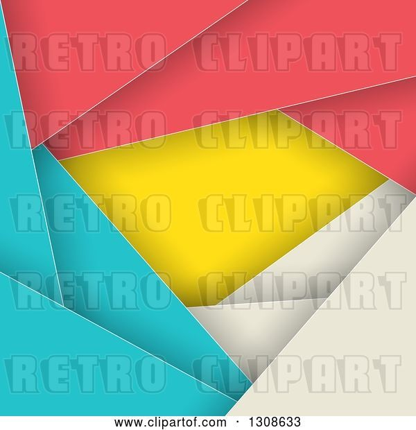 Vector Clip Art of Retro Geometric Colorful Abstract Background of Layers