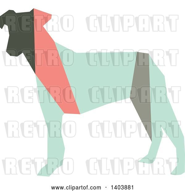 Vector Clip Art of Retro Geometric Colorful Profiled Terrier Dog