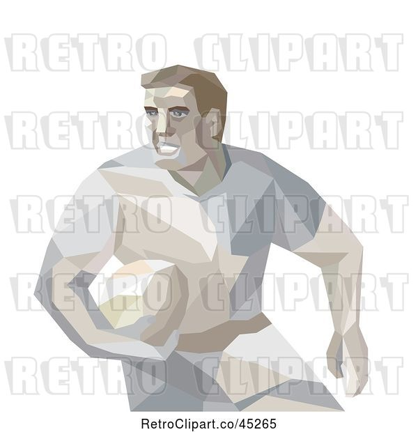 Vector Clip Art of Retro Geometric Male Rugby Player