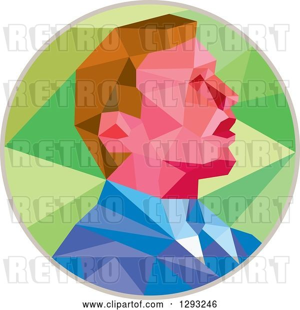 Vector Clip Art of Retro Geometric White Business Man or Politician Speaking in a Green and Gray Circle