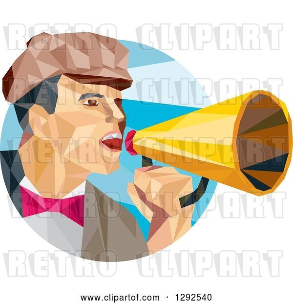 Vector Clip Art of Retro Geometric White Male Director Using a Bullhorn in a Blue Circle