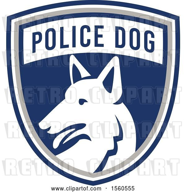 Vector Clip Art of Retro German Shepherd Police Dog in a Shield