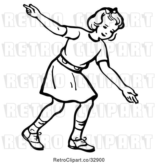 Vector Clip Art of Retro Girl After Releasing a Bowling Ball in