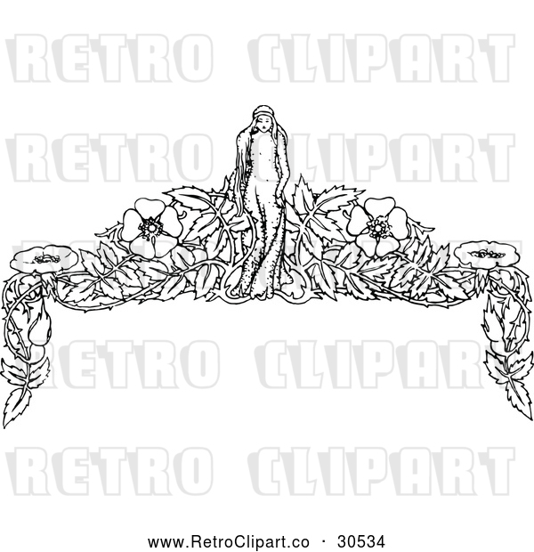 Vector Clip Art of Retro Girl and Flower Page Border