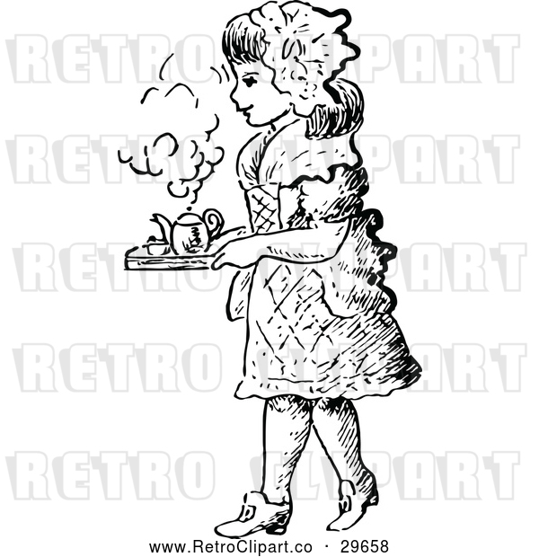 Vector Clip Art of Retro Girl Carrying a Tea Tray