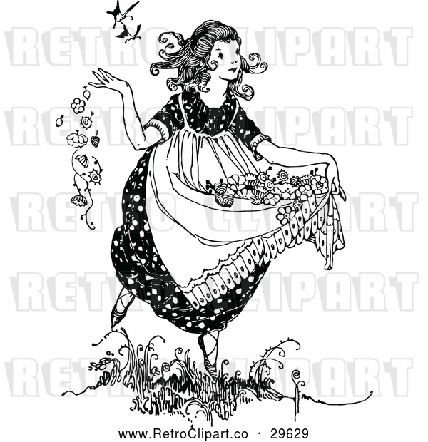 Vector Clip Art of Retro Girl Carrying Flowers in Her Dress