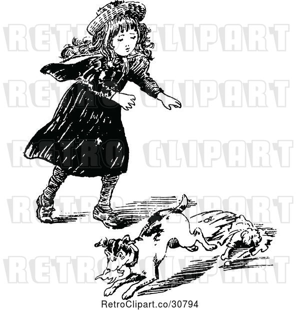 Vector Clip Art of Retro Girl Chasing a Dog Eating Her Doll