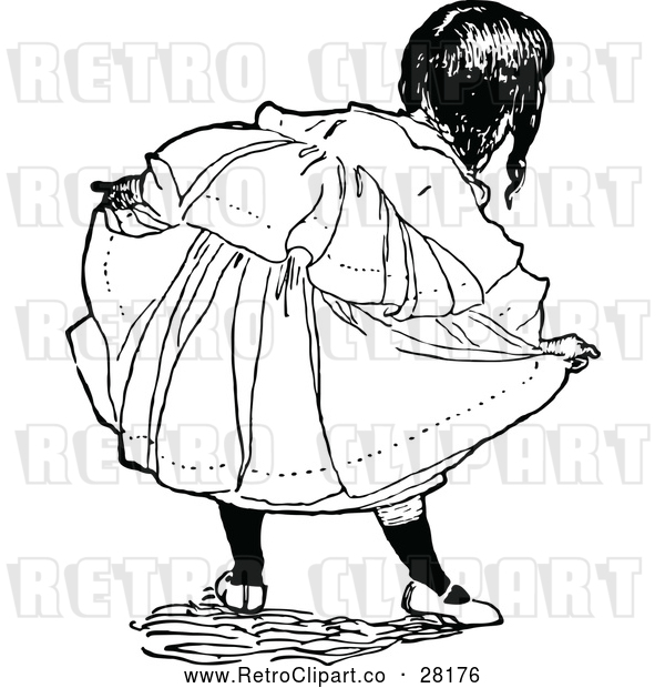 Vector Clip Art of Retro Girl Doing a Curtsy