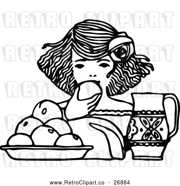 Vector Clip Art of Retro Girl Eating Fruit