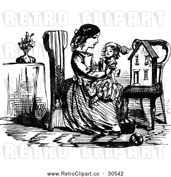 Vector Clip Art of Retro Girl Holding a Doll by a Chair