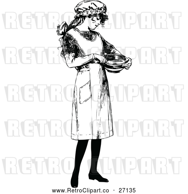 Vector Clip Art of Retro Girl in an Apron, Holding a Bowl