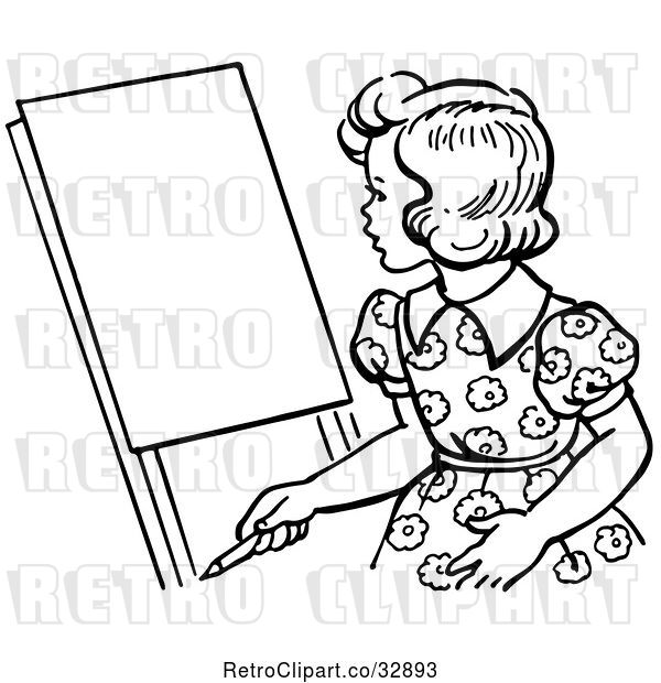 Vector Clip Art of Retro Girl Looking at an Easel in