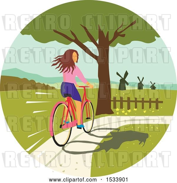 Vector Clip Art of Retro Girl Looking Back While Riding a Bike on a Path