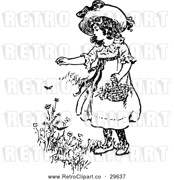 Vector Clip Art of Retro Girl Picking Flowers
