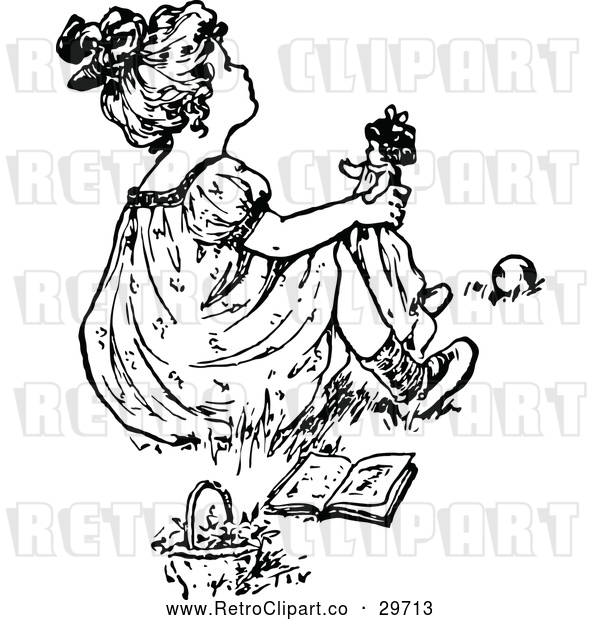 Vector Clip Art of Retro Girl Playing with a Doll 3