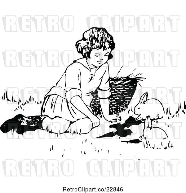 Vector Clip Art of Retro Girl Playing with Bunnies