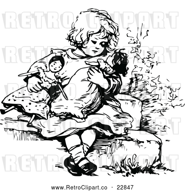 Vector Clip Art of Retro Girl Playing with Dolls