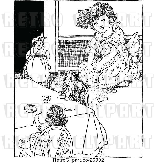 Vector Clip Art of Retro Girl Playing with Her Dolls