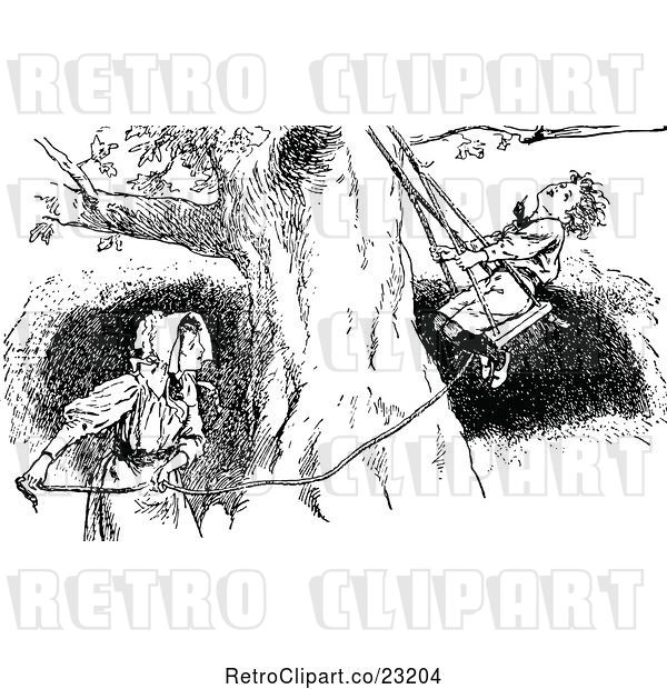 Vector Clip Art of Retro Girl Pulling a Boy on a Swing