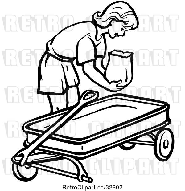 Vector Clip Art of Retro Girl Putting a Bag in a Wagon in