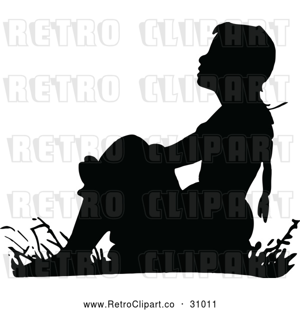 Vector Clip Art of Retro Girl Sitting in Grass